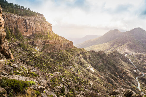 Mountainous landscape with rural road, high angle view, San Bartolome de Tirajana, Canary Islands, Spain - CUF48776