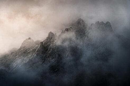 Low cloud over mountains, detail,  near Fuente De in national reserve Parque National de los Picos de Europa, Potes, Cantabria, Spain - CUF48785
