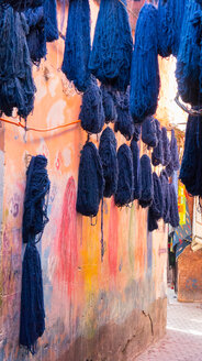 Dyed cotton hung out to dry, Marrakech, Morocco - CUF48809