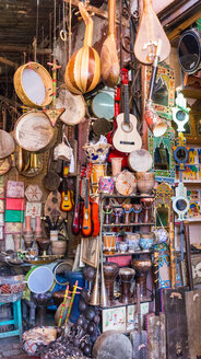 Shop full of traditional musical instruments, Marrakech, Morocco - CUF48812