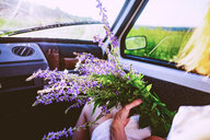 Woman sitting in car with bunch of purple wildflowers, over shoulder view - CUF49013