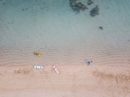 Indonesia, Bali, Nusa Dua beach, Kayaks and sup boards at the beach - KNTF02645