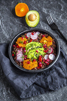 Red Quinoa salad with avocado, tomatoes, red radishes, pomegranate seeds, black sesame and cress - SARF04100
