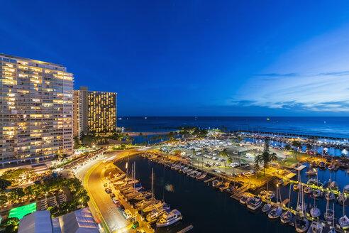 USA, Hawaii, Oahu, Honolulu, Ala Wai Boat Harbor at blue hour - FOF10312