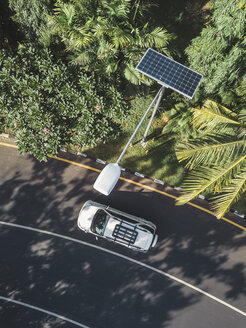 Indonesia, Bali, solar-powered street lamp, aerial view - KNTF02653