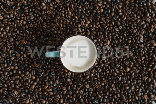 Cup of white coffee between coffee beans - AFVF02380 - VITTA GALLERY/Westend61