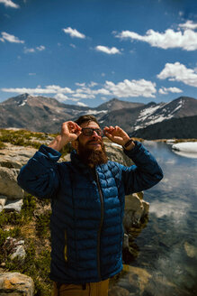 Hiker exploring Mineral King, California, United States - ISF20882