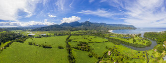 USA, Hawaii, Hanalei, View to taro fields, Hanalei, Hanalei Bay and Hanalei River, Aerial view - FOF10374