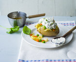 Baked patato with curd, asparagus, peas and carrots - PPXF00183
