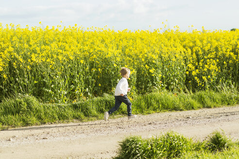 Boy running on dirt road at rapeseed field - ASTF02818
