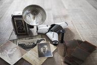Still life vintage camera, photographs and film - HEROF22255