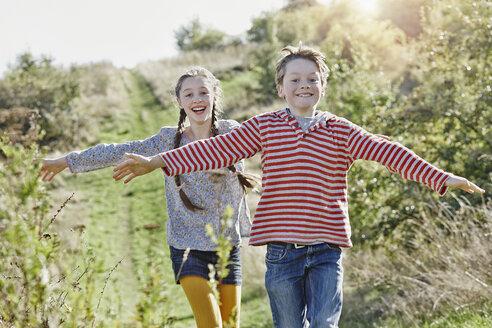 Deutschland, Hessen, Wiesbaden, Tanunus, Geschwister spielen outdoor, große Schwester, kleiner Bruder, Kinder, Mädchen mit Zöpfen, Wiese - RORF01748