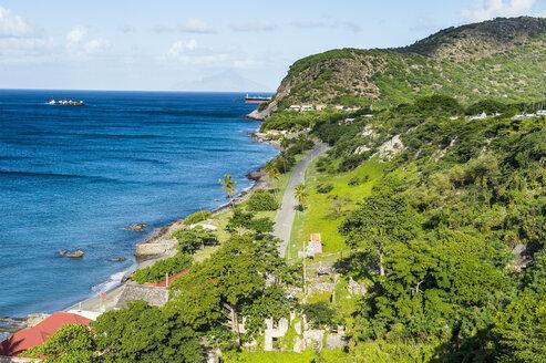Caribbean, Netherland Antilles, St. Eustatius, Oranjestad, Overlook over Oranje Bay from Fort Oranje - RUNF01249