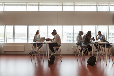 Full length of multi-ethnic students studying at desks by window in high school cafeteria - MASF11338