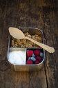 Breakfast box with granola, quinoa nuts, greek yogurt, blueberries and raspberries - LVF07795