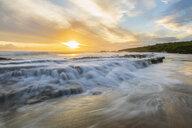 USA, Hawaii, Kauai, Eleele, Salt Pond Park at sunset - FOF10461