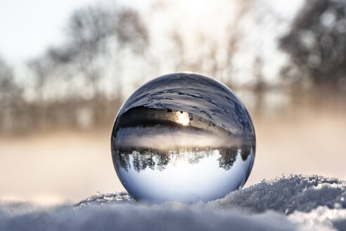 crystal ball on snow in the morning, fog - SARF04114