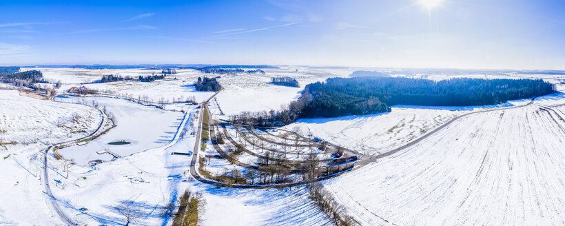 Luftaufnahme, Winter am Aichstruter Stausee, Schwäbischer Wald, Rems-Mur-Kreis, Baden Württemberg, Deutschland - STSF01839