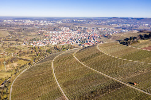 Germany, Baden-Wurttemberg, Stetten im Remstal, Aerieal view of vinyards in winter - STSF01842