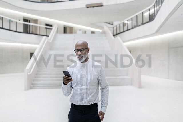 Portrait of mature businessman standing at foyer looking at cell phone - FMKF05370