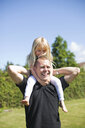 Happy father carrying daughter on shoulder in back yard against sky - ASTF03660