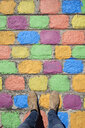 Argentina, Buenos Aires, La Boca, point of view shot of man standing on colorful pavement - IGGF00791