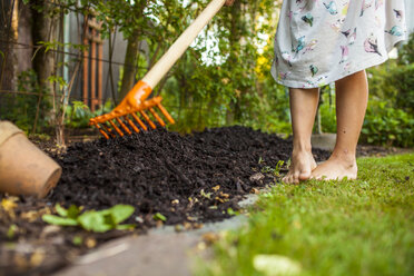 Low section of girl spreading fertilizer with gardening fork in backyard - ASTF04215