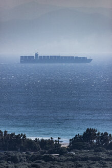 Spain, Andalusia, Tarifa, Strait of Gibraltar, container ship and fog - KBF00505