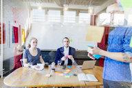 Team of creative business people preparing presentation in board room - ASTF04554