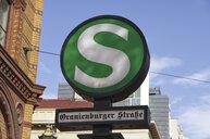 Germany, Berlin, sign of S-Bahn station Oranienburger Strasse - ALEF00099