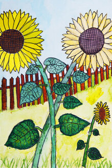 Children's painting of sunflowers in a garden - WWF04890