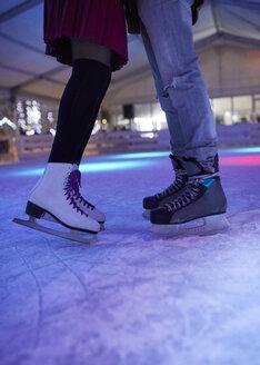 Serbia, Novi Sad, Ice skating, Couple, Night - ZEDF01923