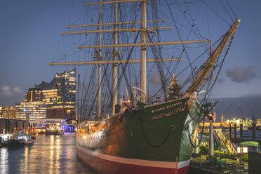 Germany, Hamburg, Landing Stages, Christmas illumination - KEB01192