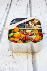 Lunchbox with quinoa salad with tomato and cucumber, blue berry and trail mix - LVF07828