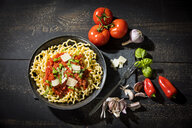 Pasta al Pomodoro, fusilli lunghi with tomato sauce, garlic, basil, parmesan cheese and red peppers - MAEF12825