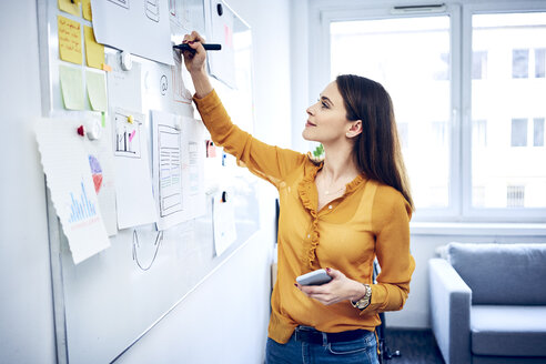 Smiling businesswoman taking notes on whiteboard in office - BSZF01035