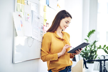 Smiling businesswoman using tablet at whiteboard in office - BSZF01056