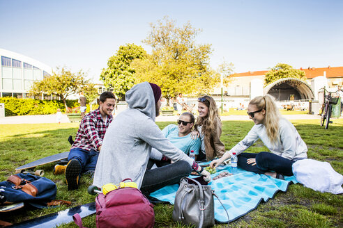 Happy friends enjoying picnic at park - ASTF04961