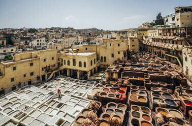 Scenic view of leather tannery dye pits, Fes, Morocco - CAIF22629