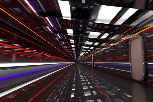 3D rendered Illustration, Architecture visualisation of a futuristic hallway or Spaceship walkway. - SPCF00363
