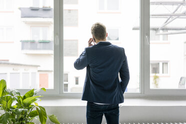 Rear view of young businessman talking on cell phone at the window - MOEF02157