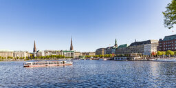 Germany, Hamburg, cityscape with Binnenalster and Jungfernstieg - WDF05136