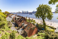 Germany, Hamburg, Oevelgoenne, captain's houses and pilot houses at the Elbe shore seen from Himmelsleiter - WDF05166