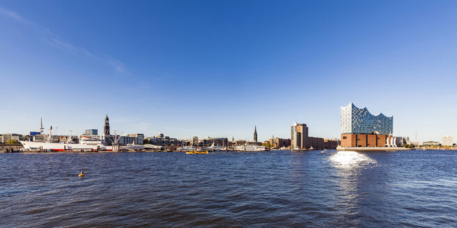 Germany, Hamburg, cityscape with Elbe Philharmonic Hall seen from the water - WDF05175