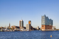 Germany, Hamburg, cityscape with Elbe Philharmonic Hall seen from the water - WDF05178