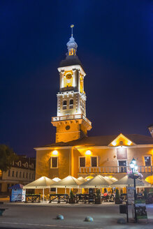Polish magistrate building  at night now the city hall of Kamianets-Podilskyi, Ukraine - RUN01409