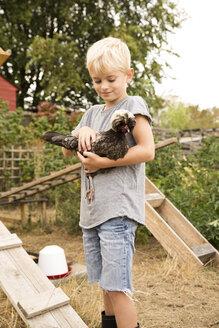 Deutschland, NRW, Garten, Huehnerstall, Huehner, Hollaender Haubenhuhn, Portrait, Junge haelt Huhn auf dem Arm - MFRF01261