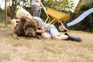 Boy cuddling with Old English Bulldog at playground in garden - MFRF01273