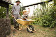 Cheerful man pushing son sitting in wheelbarrow holding chicken - MFRF01276