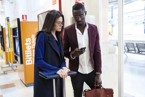 Hotel Rambla, Lleida,Catalonia, Spain,Entrepreneur couple at the train station traveling for work reasons - JSRF00144